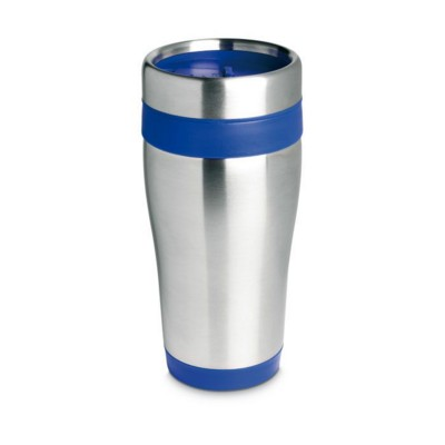Picture of SILVER STAINLESS STEEL METAL TRAVEL MUG with Lid in Blue