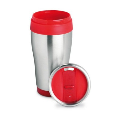 Picture of SILVER STAINLESS STEEL METAL TRAVEL MUG with Lid in Red