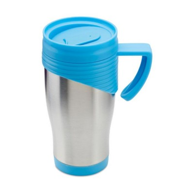 Picture of STAINLESS STEEL METAL TRAVEL MUG with Plastic Handle in Blue