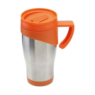 Picture of STAINLESS STEEL METAL TRAVEL MUG with Plastic Handle in Orange