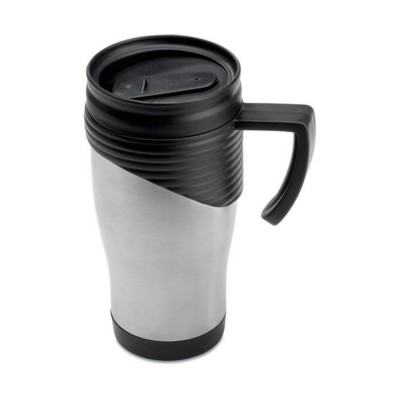 Picture of STAINLESS STEEL METAL TRAVEL MUG with Plastic Handle in Matt Silver