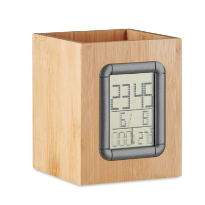 Picture of BAMBOO PENHOLDER AND LCD CLOCK