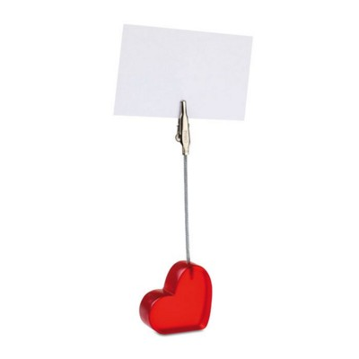 Picture of HEART SHAPE DESK MEMO HOLDER CLIP in Translucent Red