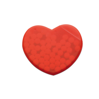 Picture of HEART SHAPE PLASTIC MINTS BOX DISPENSER in Red