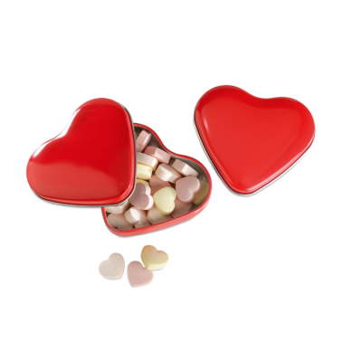 Picture of HEART SHAPE SWEETS TIN in Red