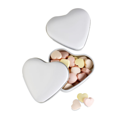 Picture of HEART SHAPE SWEETS TIN in White
