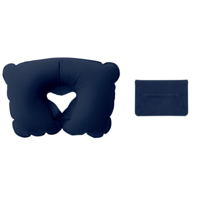 Picture of INFLATABLE TRAVEL PILLOW in Velvet Pouch in Blue