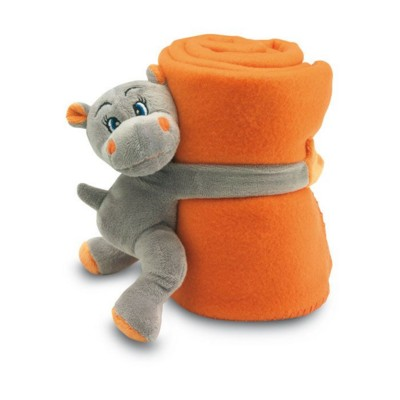 Picture of CHILDRENS FLEECE PICNIC BLANKET & PLUSH HIPPO in Orange