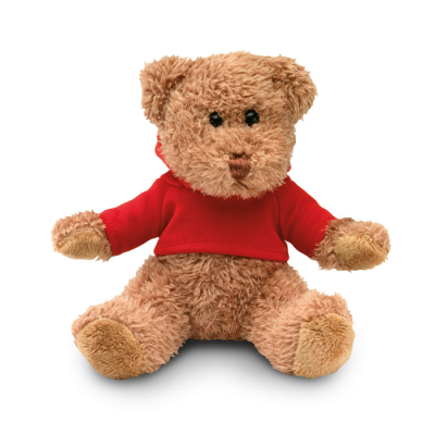 Picture of TEDDY BEAR PLUSH SOFT TOY with Hooded Hoody Sweater in Red