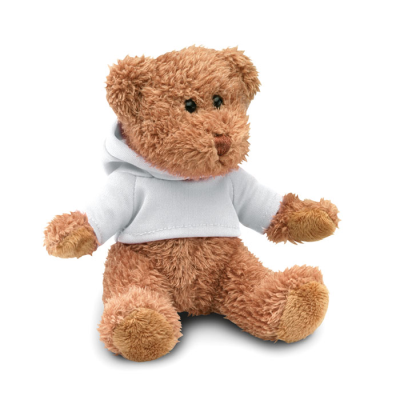 Picture of TEDDY BEAR PLUSH SOFT TOY with Hooded Hoody Sweater in White