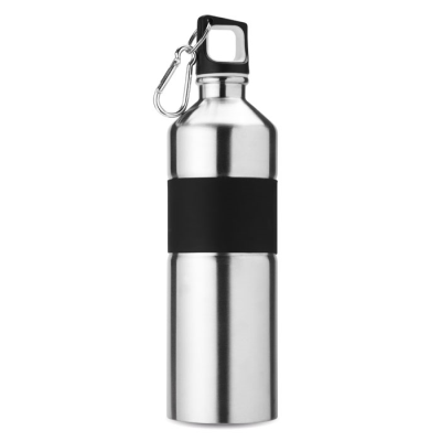Picture of BICOLOUR STAINLESS STEEL METAL SPORTS DRINK BOTTLE in Matt Silver