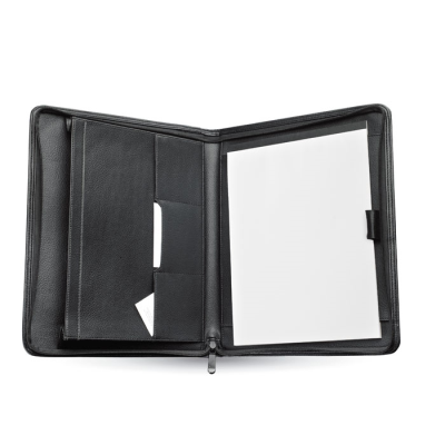 Picture of ZIP AROUND A4 BONDED LEATHER CONFERENCE FOLDER in Black