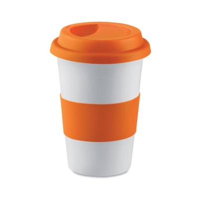 Picture of CERAMIC POTTERY MUG with Silicon Lid in Orange
