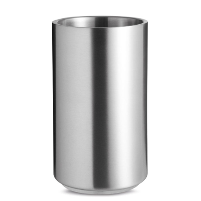 Picture of SILVER STAINLESS STEEL METAL WINE BOTTLE COOLER in Matt Silver
