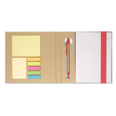 Picture of NOTE BOOK with Sticky Notes & Pen in Red