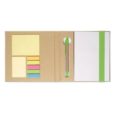 Picture of NOTE BOOK with Sticky Notes & Pen in Lime