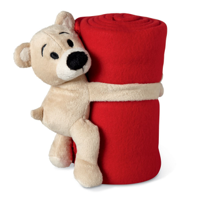 Picture of CHILDRENS FLEECE PICNIC BLANKET & SOFT TOY in Red