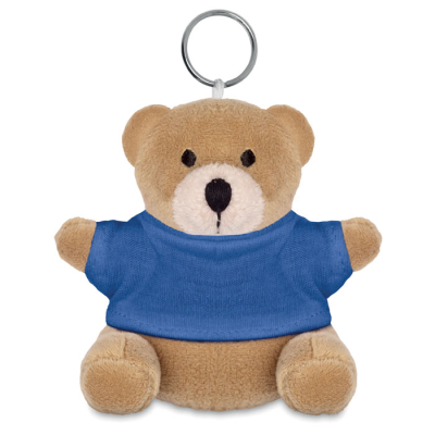 Picture of TEDDY BEAR SOFT TOY KEYRING in Blue