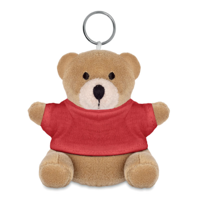 Picture of TEDDY BEAR SOFT TOY KEYRING in Red