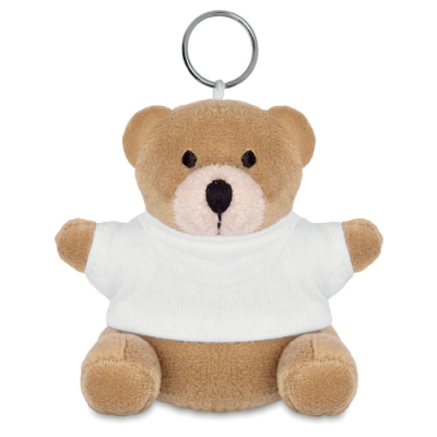 Picture of TEDDY BEAR SOFT TOY KEYRING in White