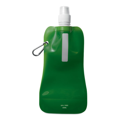Picture of FOLDING WATER BOTTLE in Translucent Green with Aluminium Metal Carabiner