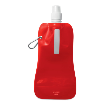 Picture of FOLDING WATER BOTTLE in Translucent Red with Aluminium Metal Carabiner