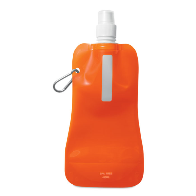 Picture of FOLDING WATER BOTTLE in Translucent Orange with Aluminium Metal Carabiner