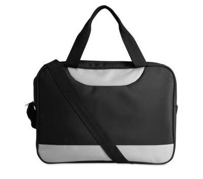Picture of MICROFIBRE DOCUMENT BAG with Shoulder Strap in Black & Grey