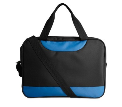 Picture of MICROFIBRE DOCUMENT BAG with Shoulder Strap in Black & Blue