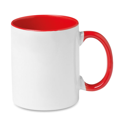 Picture of CERAMIC POTTERY MUG in White and Red