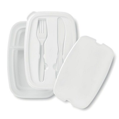 Picture of LUNCH BOX with 2 Compartments Made of Pp & Cutlery Set in the Lid Made of Ps
