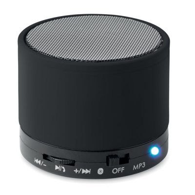 Picture of ROUND BLUETOOTH SPEAKER with Rubber Finish in Black
