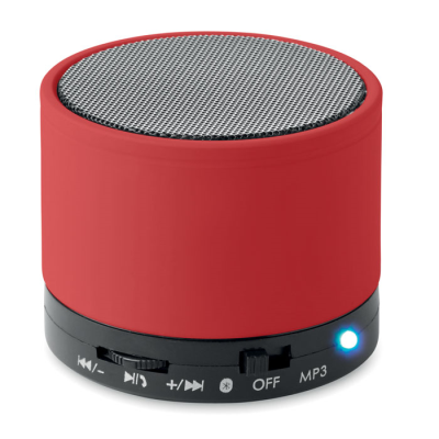 Picture of ROUND BLUETOOTH SPEAKER with Rubber Finish in Red