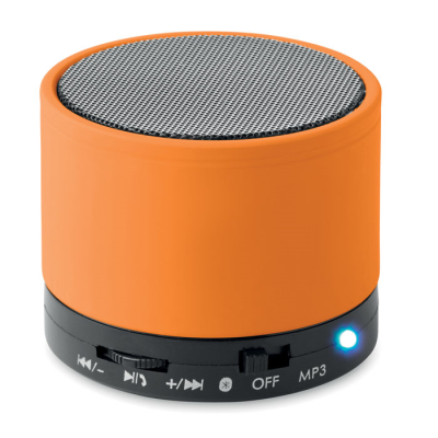 Picture of ROUND BLUETOOTH SPEAKER with Rubber Finish in Orange