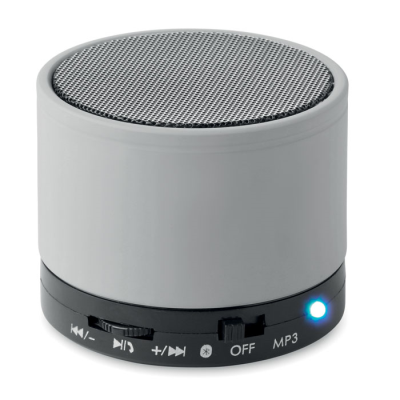 Picture of ROUND BLUETOOTH SPEAKER with Rubber Finish in Matt Silver
