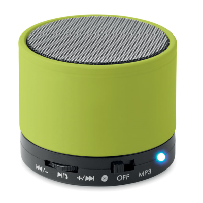 Picture of ROUND BLUETOOTH SPEAKER with Rubber Finish in Lime