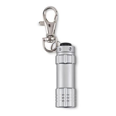 Picture of ALUMINIUM SMALL 3 LED TORCH with Keyring in Matt Silver
