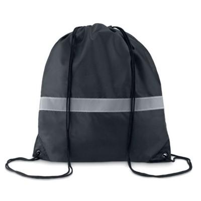 Picture of STRIPE DRAWSTRING BAG in 190t Polyester with Reflective Stripe in Black