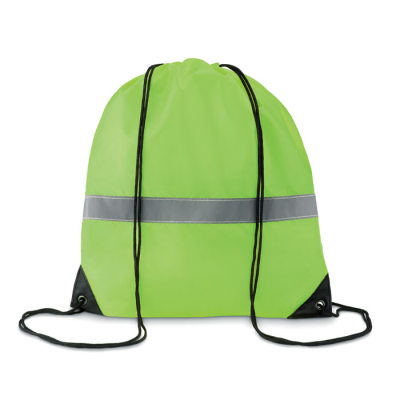 Picture of STRIPE DRAWSTRING BAG in 190t Polyester with Reflective Stripe in Neon Fluorescent Yellow