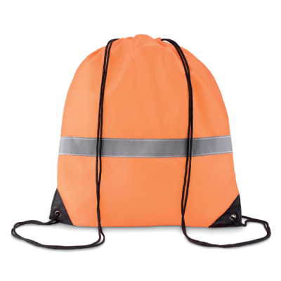 Picture of STRIPE DRAWSTRING BAG in 190t Polyester with Reflective Stripe in Neon Fluorescent Orange