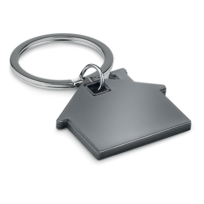 Picture of IMBA HOUSE SHAPE STAINLESS STEEL METAL AND ABS PLASTIC KEYRING in Black