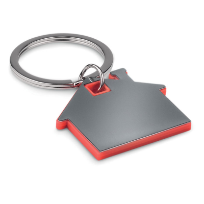 Picture of IMBA HOUSE SHAPE STAINLESS STEEL METAL AND ABS PLASTIC KEYRING in Red