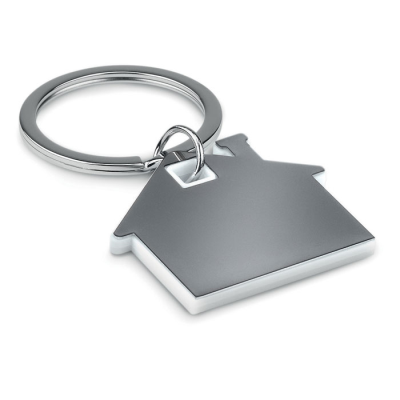 Picture of IMBA HOUSE SHAPE STAINLESS STEEL METAL AND ABS PLASTIC KEYRING in White