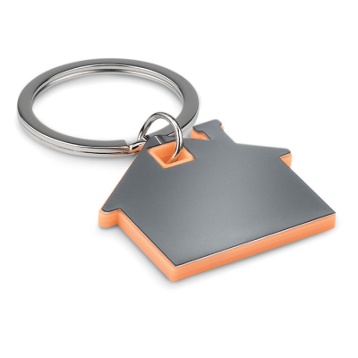 Picture of IMBA HOUSE SHAPE STAINLESS STEEL METAL AND ABS PLASTIC KEYRING in Orange