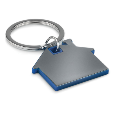 Picture of IMBA HOUSE SHAPE STAINLESS STEEL METAL AND ABS PLASTIC KEYRING in Royal Blue
