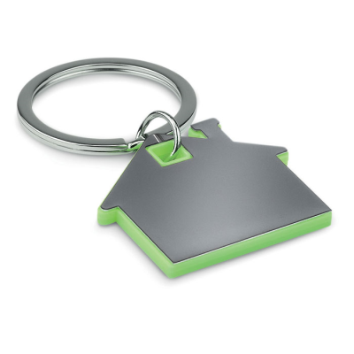 Picture of IMBA HOUSE SHAPE STAINLESS STEEL METAL AND ABS PLASTIC KEYRING in Lime