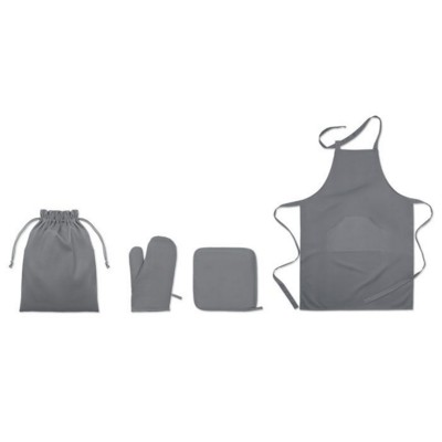Picture of TWILL COTTON 250 GSM APRON SET with Potholder, Oven Mitt in Self Material Cord Bag