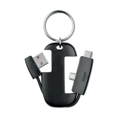 Picture of KEYRING with Integrated Cables, Usb, Micro & Type C