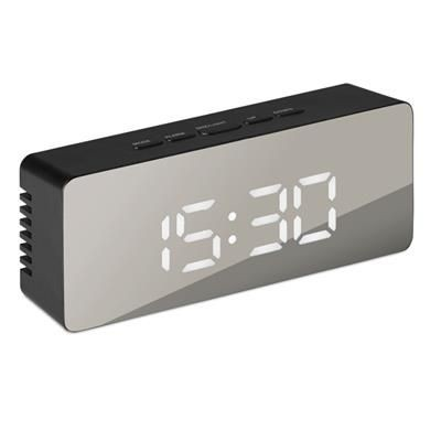 Picture of WHITE LED TIME DISPLAY ALARM CLOCK AND THERMOMETER in Mirror Finish