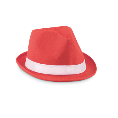 Picture of COLOUR HAT in Polyester Straw with White Colour Band